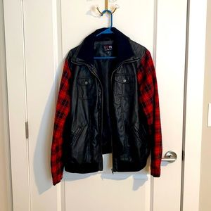 Leather flannel jacket